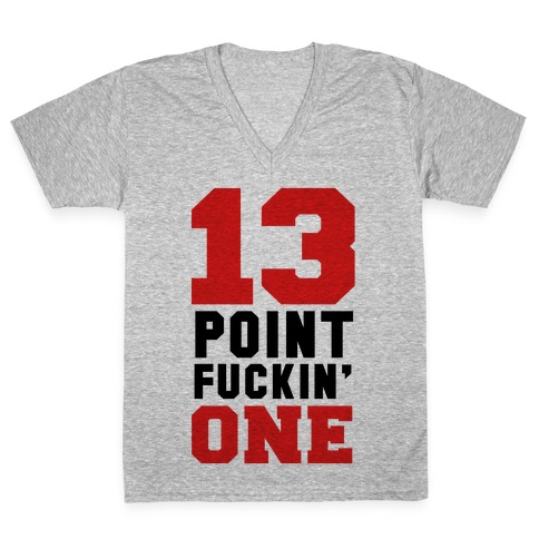 13 Point F***in One (mens) V-Neck Tee Shirt