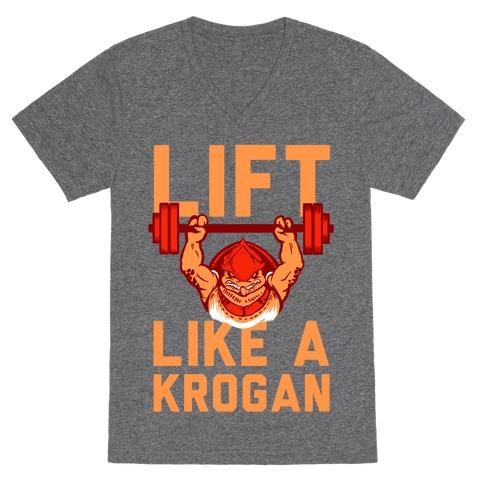 Lift Like a Krogan V-Neck Tee Shirt