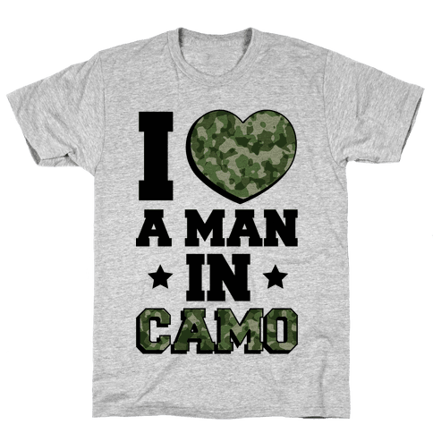 I Love a Man in Camo (Military Baseball Tee) Mens T-Shirt