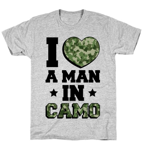 I Love a Man in Camo (Military Baseball Tee) Mens T-Shirt