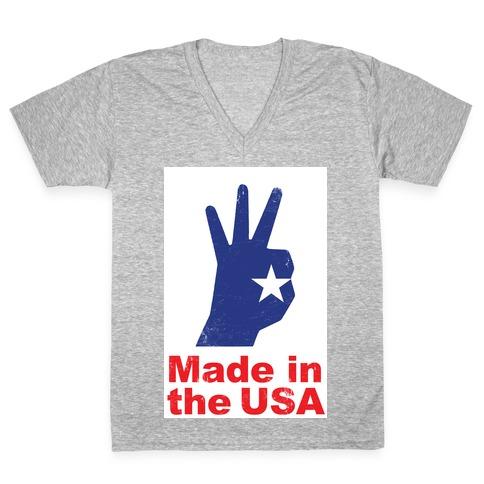 Made in the USA (Patriotic Baseball Tee) V-Neck Tee Shirt