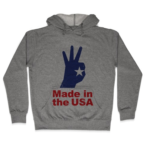 Made in the USA (Patriotic Baseball Tee) Hooded Sweatshirt