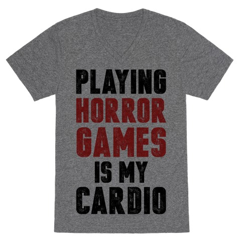 Playing Horror Games Is My Cardio V-Neck Tee Shirt