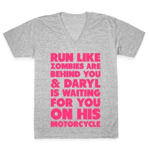 Run Like Daryl is Waiting V-Neck Tee Shirt