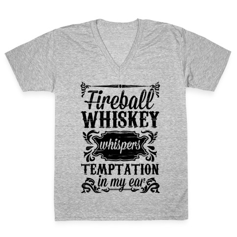 Whiskey Whispers Temptation In My Ear V-Neck Tee Shirt