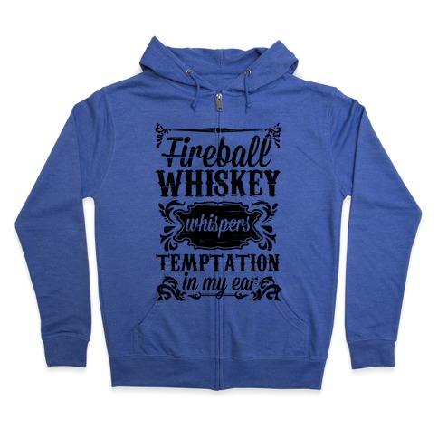 Whiskey Whispers Temptation In My Ear Zip Hoodie