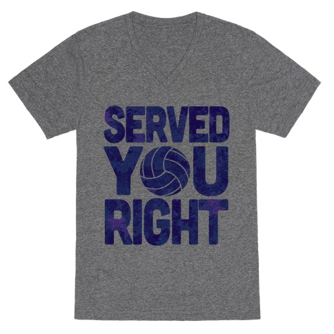 Served You Right (Blue) V-Neck Tee Shirt