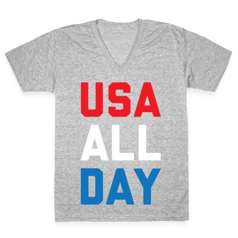 USA All Day V-Neck Tee Shirt