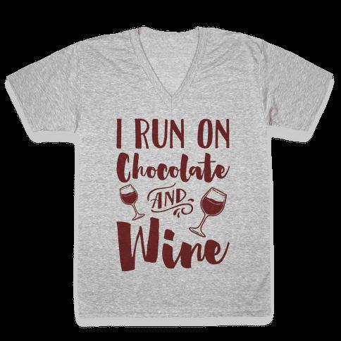 I Run On Chocolate And Wine V-Neck Tee Shirt