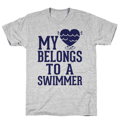 My Heart Belongs To A Swimmer Mens T-Shirt