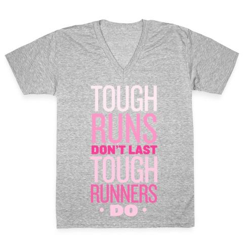 Tough Runners (Pink) V-Neck Tee Shirt