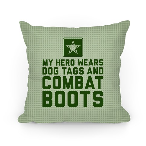 Dog Tags and Combat Boots Pillow