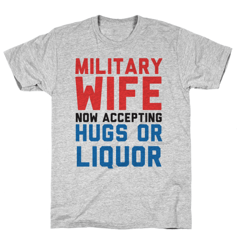 Hugs or Liquor (Military Baseball Tee) Mens T-Shirt