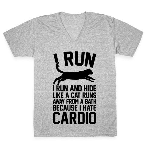 I Run Like A Cat V-Neck Tee Shirt