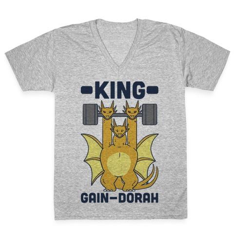 King Gain-dorah - King Ghidorah V-Neck Tee Shirt