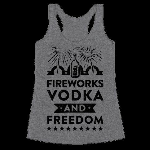 Fireworks Vodka and Freedom Racerback Tank Top