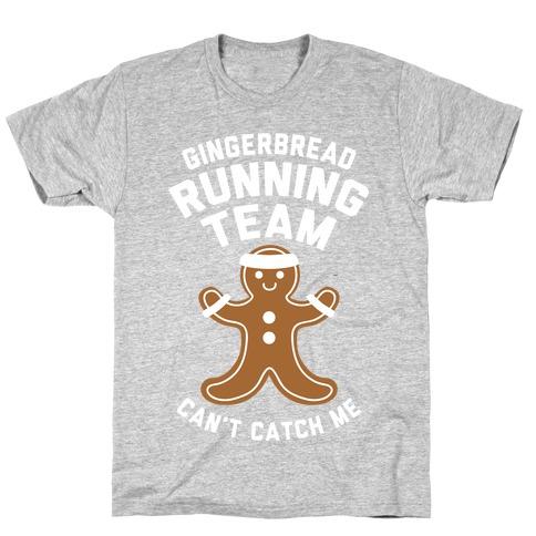 Gingerbread Running Team (White Ink) Mens/Unisex T-Shirt