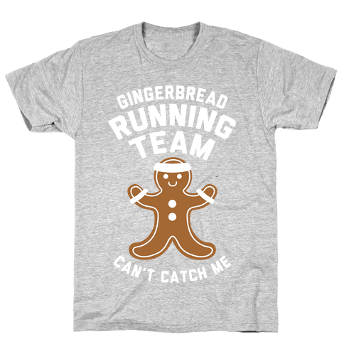 Gingerbread Running Team (White Ink) Mens T-Shirt
