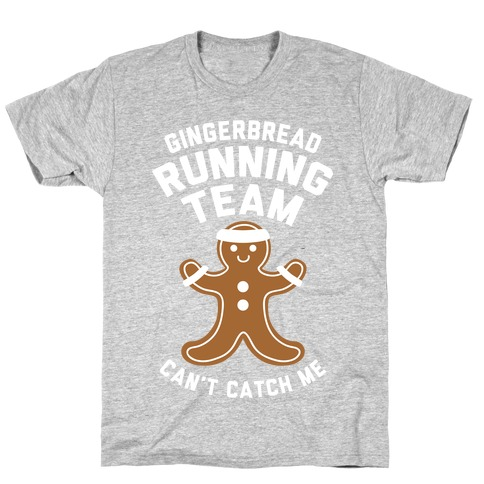 Gingerbread Running Team (White Ink) Mens/Unisex T-Shirt
