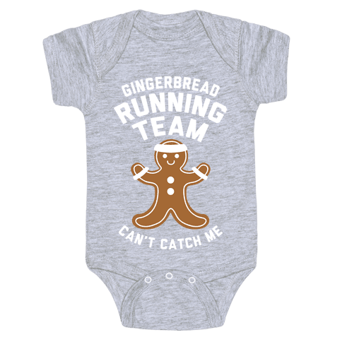 Gingerbread Running Team (White Ink) Baby Onesy
