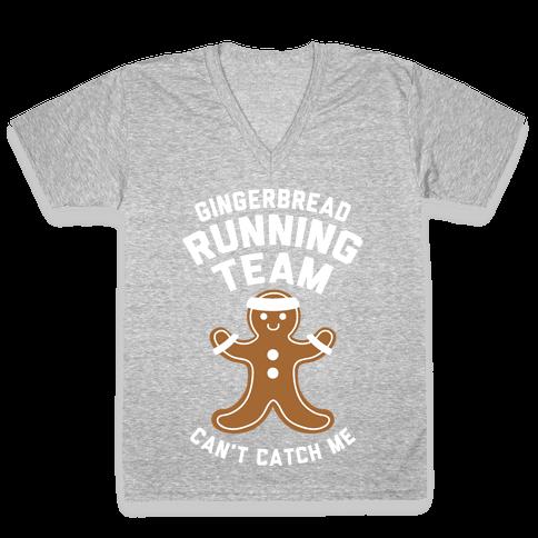 Gingerbread Running Team (White Ink) V-Neck Tee Shirt