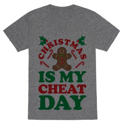 Christmas Is My Cheat Day V-Neck Tee Shirt
