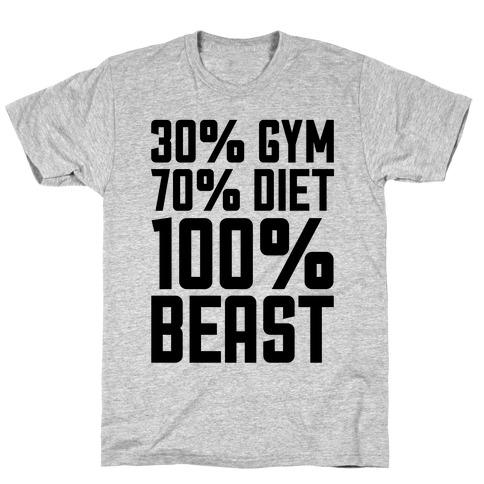 30% Gym, 70% Diet, 100% BEAST Mens T-Shirt