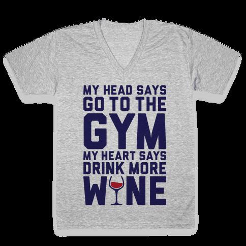 Gym Versus Wine V-Neck Tee Shirt