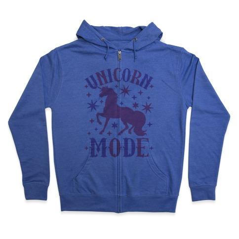 Unicorn Mode Zip Hoodie