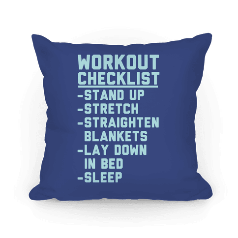 Workout Checklist Pillow