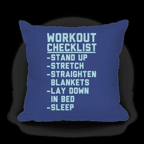 Workout Checklist Pillow