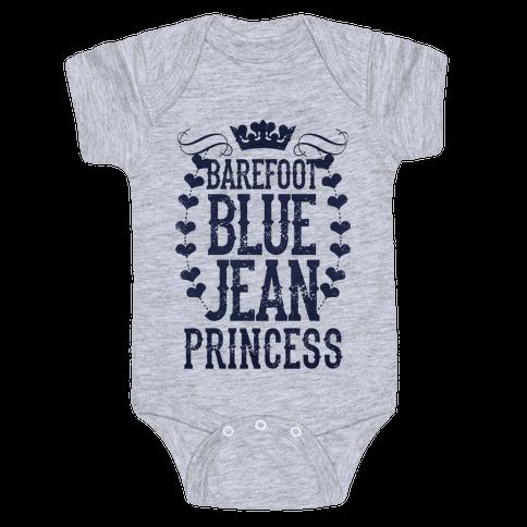 Barefoot Blue Jean Princess Baby Onesy