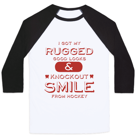 Knockout Hockey Smile Baseball Tee