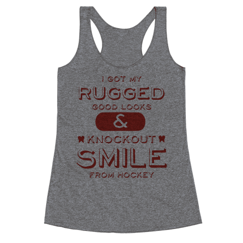 Knockout Hockey Smile Racerback Tank Top