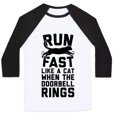 Run Fast Like A Cat Baseball Tee