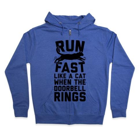 Run Fast Like A Cat Zip Hoodie