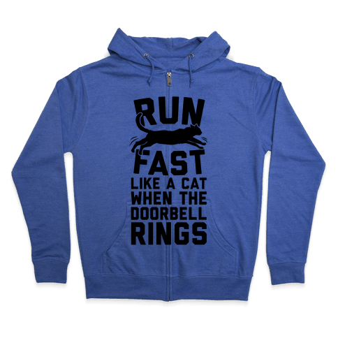 Run Fast Like A Cat Zip Hoodie