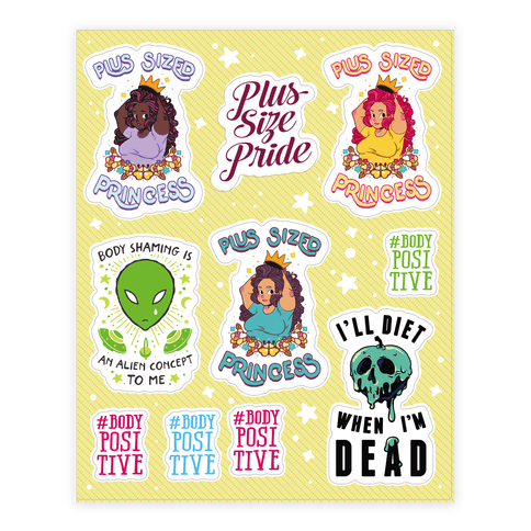 Body Positive Princess Sticker and Decal Sheet