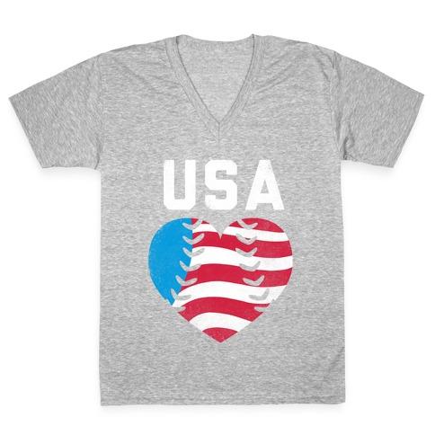 USA Baseball Love V-Neck Tee Shirt