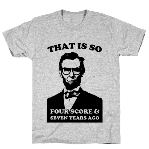 Hipster Abe (Patriotic Baseball Tee) Mens T-Shirt