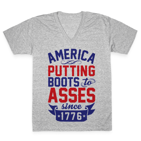 America Putting Boots To Asses V-Neck Tee Shirt