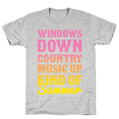 Windows Down Country Music Up Mens T-Shirt