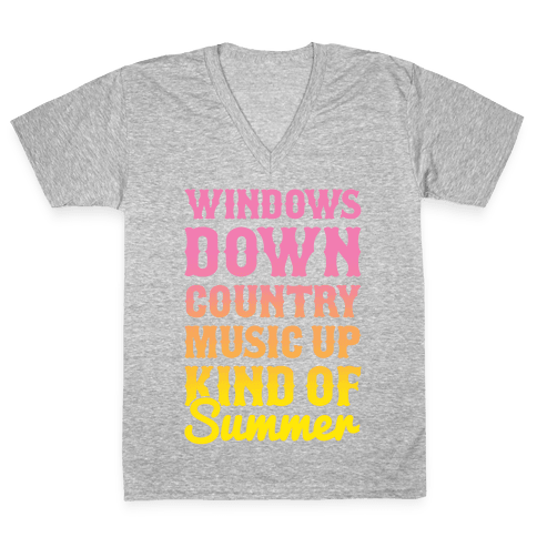 Windows Down Country Music Up V-Neck Tee Shirt