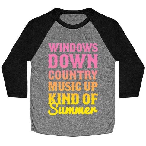 Windows Down Country Music Up Baseball Tee