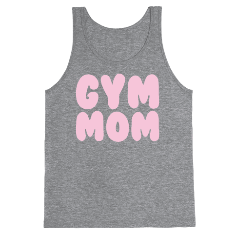 Gym Mom White Print Tank Top