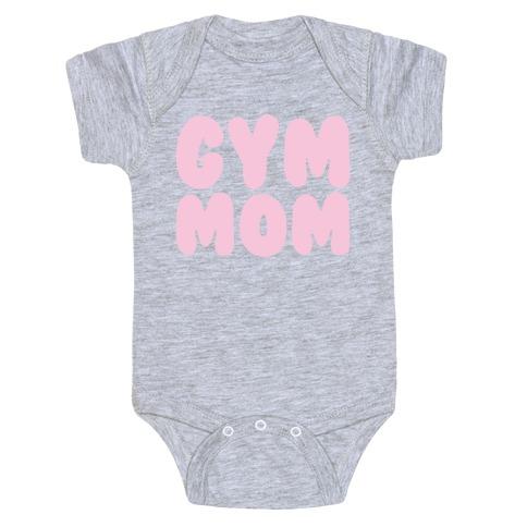 Gym Mom White Print Baby Onesy