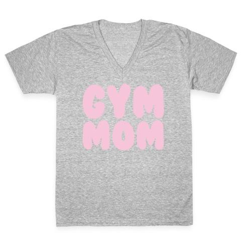 Gym Mom White Print V-Neck Tee Shirt