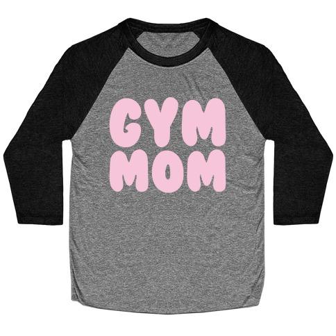 Gym Mom White Print Baseball Tee