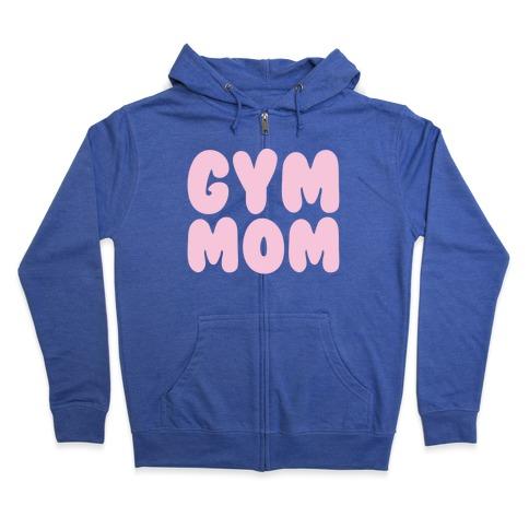 Gym Mom White Print Zip Hoodie