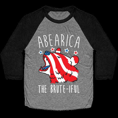 ABEARica The Brute-iful Merica Bear Baseball Tee